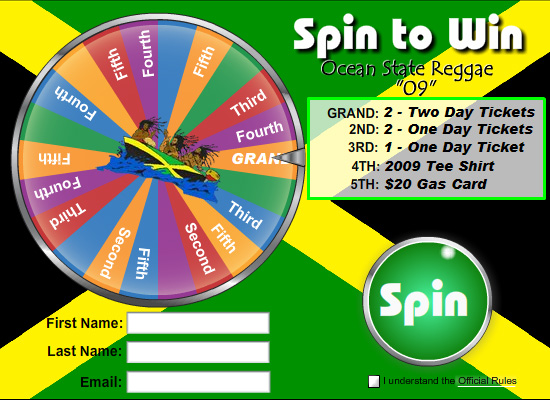 Prize Wheel for Reggae Festival | Prize Wheel Marketing Ideas